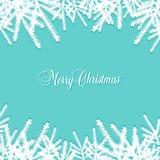 与杉木针的经典圣诞节背景 免版税库存照片