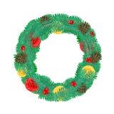 与杉木锥体传染媒介的圣诞节花圈 免版税图库摄影