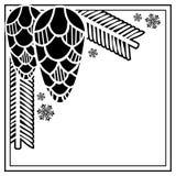 与杉木锥体剪影的方形的框架 复制空间 免版税库存照片