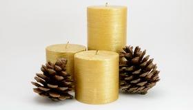 与杉木锥体的三个金蜡烛 库存照片