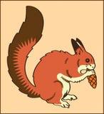 与杉木锥体的灰鼠动物 图库摄影