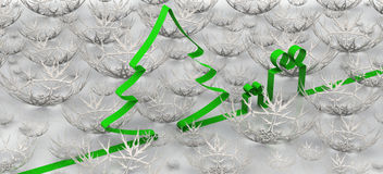 与杉树、礼物和雪花的新年背景 免版税库存照片