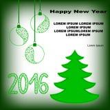 与杉树和新年玩具的新年明信片 免版税图库摄影
