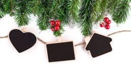 与杉树和装饰的空白的圣诞节照片框架 免版税图库摄影