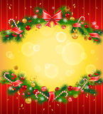 与杉树的圣诞节欢乐背景 免版税图库摄影