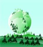 与杉树的绿色企业背景Vector_Green世界 图库摄影
