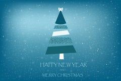 与杉树艺术条纹的美好的假日卡片传染媒介在蓝色 免版税库存图片