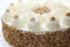 与杏仁边缘的奶油色蛋糕 免版税图库摄影