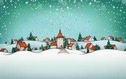 与村庄冬天风景的出现日历 库存照片