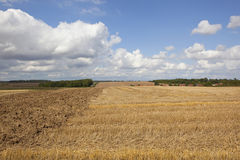 与村庄的收获风景 免版税库存照片