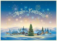 与村庄的欢乐冬天风景 库存例证