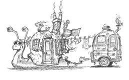 与村庄的蜗牛喜欢拖曳有蓬卡车的房子 库存图片