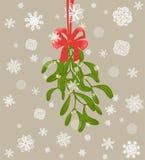 与束的垂悬的圣诞装饰槲寄生用莓果和红色弓和纸切口雪花 免版税库存图片
