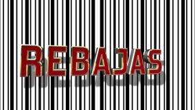 与条形码摘要线背景的西班牙销售3D 免版税库存照片