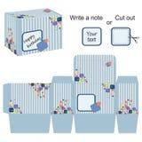 与条纹和五颜六色的泡影的有趣的箱子模板 免版税库存图片