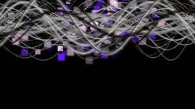 与条纹波浪对象的意想不到的动画在改变方形的背景, 4096x2304圈4K的颜色的慢动作 向量例证