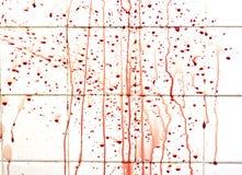 与条纹的血液在卫生间瓦片 库存图片