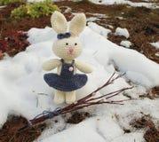 与杨柳分支的复活节兔子在雪森林里 库存图片