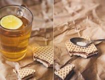 与杯和曲奇饼的拼贴画 库存图片