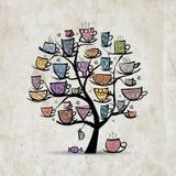 与杯子和杯子的艺术树 您的剪影 库存图片