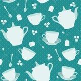 与杯子和茶壶的无缝的样式 免版税库存照片
