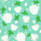 与杯子的无缝的样式和茶壶和薄菏 库存图片