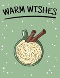 与杯子的温暖的愿望海报拿铁咖啡 手拉的动画片样式明信片 向量例证