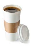 与杯座的被开张的外卖咖啡 免版税库存照片