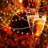 与杯的新年快乐卡片香槟 库存照片