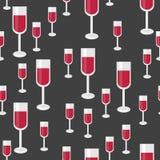 与杯的无缝的样式红葡萄酒 传染媒介背景为 免版税库存图片
