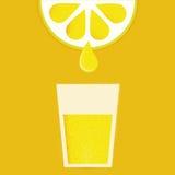 与杯的柠檬柠檬水或鸡尾酒 库存照片