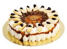 与松脆饼的奶油色蛋糕 免版税库存照片