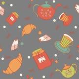 与松饼、果酱和茶事的无缝的样式 图库摄影