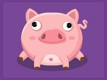 与板材的猪 动物漫画人物滑稽的查出的对象向量 免版税库存照片