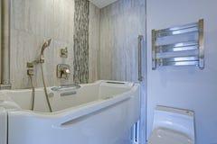 与极可意浴缸Walk-in浴缸的当代卫生间设计 免版税库存图片