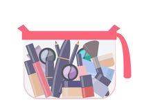 与构成产品的塑料透明化妆袋子 不同的装饰化妆用品 一切为组成 r 库存例证