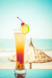 与果子装饰的长岛鸡尾酒在热带海洋 免版税图库摄影