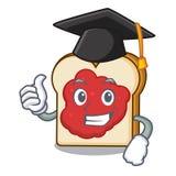 与果酱字符动画片的毕业面包 库存例证