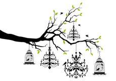 与枝形吊灯和鸟笼,传染媒介的树 向量例证