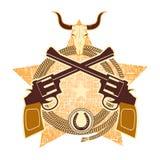 与枪和公牛头骨的西部标志 免版税库存图片