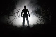 与枪的军事战士剪影 战争概念 与在战争雾天空背景,世界大战Soldie的军事剪影场面战斗 免版税库存图片