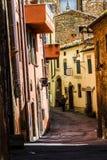与柏树的田园诗托斯卡纳风景 顶面吸引力在意大利 著名旅行目的地 库存照片