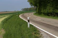 与柏油路的春天风景 免版税库存照片