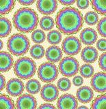 与染色快乐的圈子样式的无缝的抽象传染媒介背景在米黄区域 库存照片