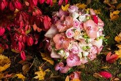 与柔和的兰花和玫瑰的新娘花束 图库摄影