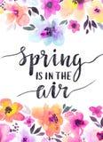 与柔和的花的水彩花卉背景 春天设计卡片 皇族释放例证