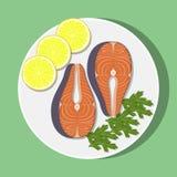与柠檬切片和草本的鲑鱼排在白色板材,顶视图 传染媒介平的例证 库存照片