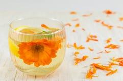 与柠檬切片的万寿菊花清凉茶 免版税图库摄影