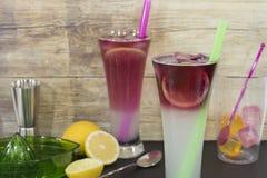 与柠檬和冰鸡尾酒的两块玻璃 免版税库存图片
