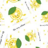 与柠檬逗人喜爱的微笑字符的无缝的样式 动画片黄色果子卡片 是我的另外一半海报 向量例证